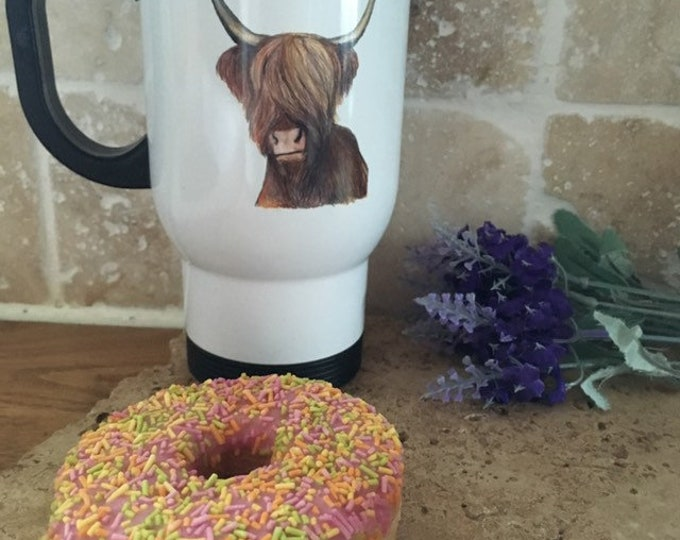 Highland cow travel mug, for highland cow lovers, highland cow gift, hairy cow