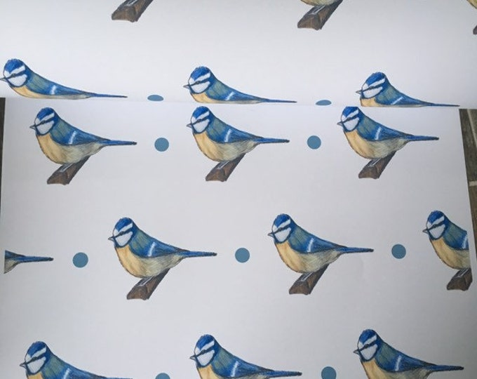 Bluetit wrapping paper, gift wrap, for bluetit lovers, for bird lovers, bird gift, for smaller gifts