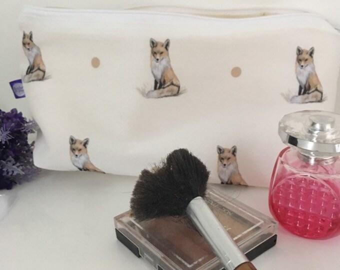 Fox makeup bag, cosmetics bag, for fox lovers, fox gift