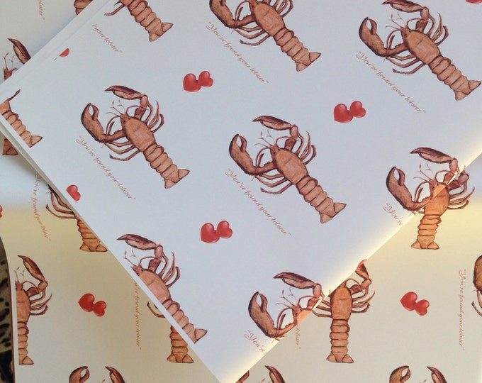 You've found your lobster wrapping paper , gift wrap, wedding paper, pun paper, wedding, lobster , for mr and mrs, for weddings, read descri
