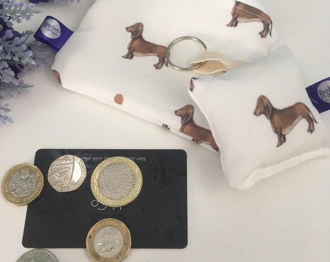 Sausage dog, daschund, coin purse, keyring, gift set, for sausage dog lovers, sausage dog gift