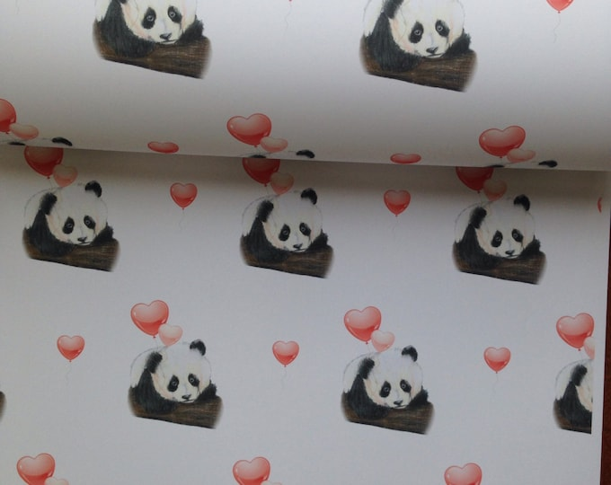 Panda, wrapping paper, gift wrapping , valentines gift wrap, for panda lovers, read description