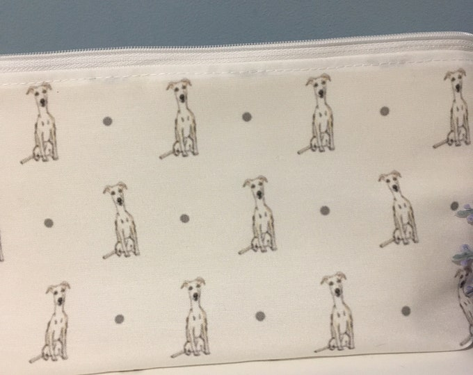 Whippet makeup bag, cosmetics bag , for whippet lovers, whippet gift