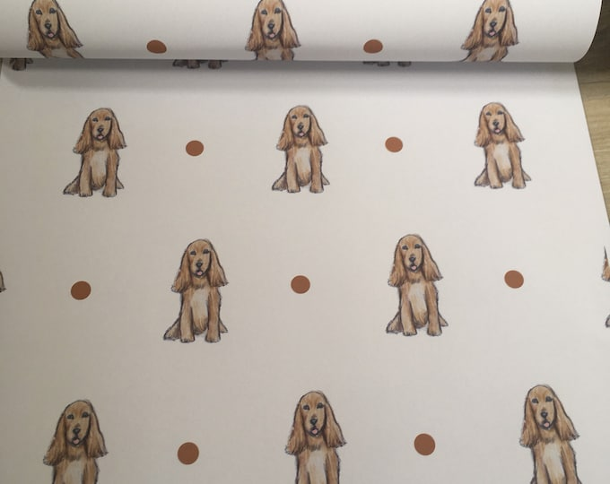 Cocker spaniel, wrapping paper, gift wrap, for spaniel lovers, for dog lovers, read description