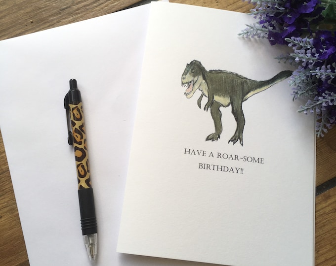 Dinosaur birthday card,greetings card, for dinosaur lovers, dinosaur gift