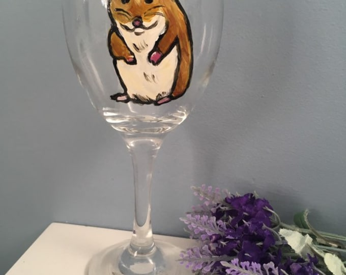 Hamster wine glass, for hamster lovers, for wine lovers, hamster gift, for gin lovers