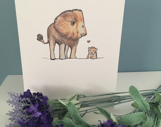 Lion card, lion and cub card, Father's Day card , for lion lovers, lion gift