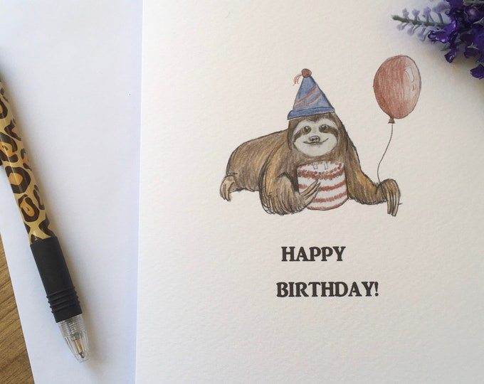 Sloth, party sloth, card, birthday card, greetings card, for sloth lovers, sloth gift
