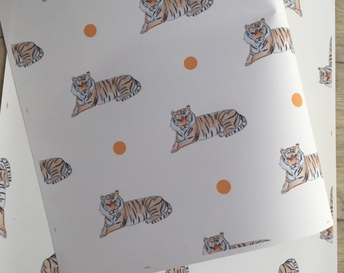 Tiger wrapping paper, gift wrap, for tiger lovers, tiger gift.  Read description