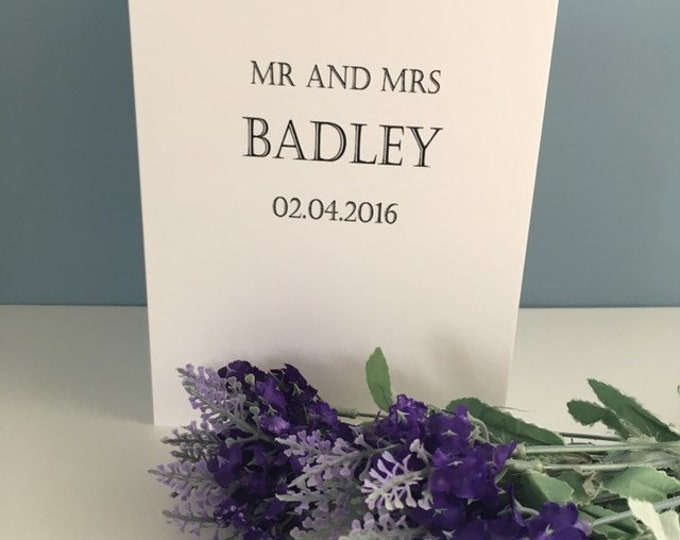 Wedding card, mr and mrs card, wedding gift, for Grooms, for Brides, personalised wedding card