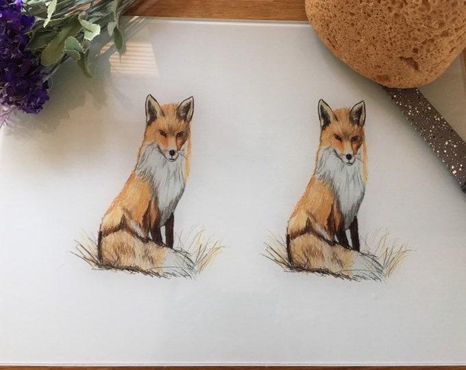 Fox chopping board, glass board, for fox lovers, fox gift