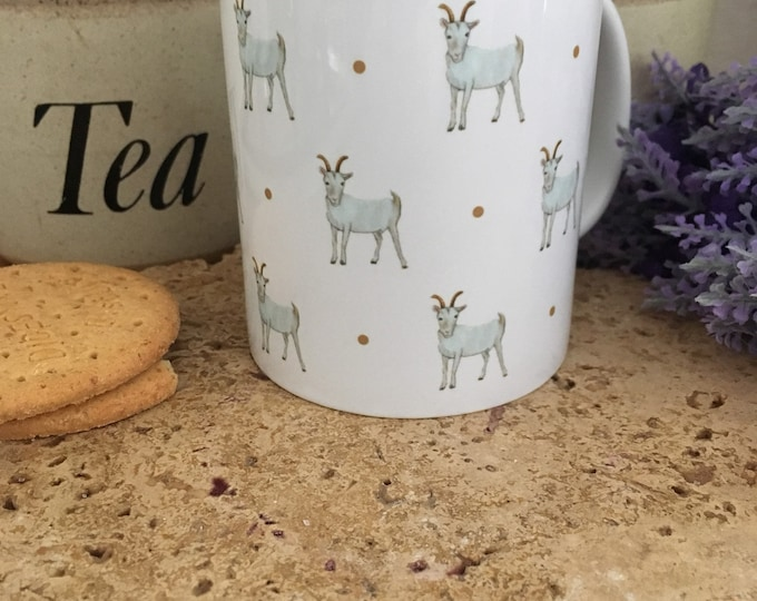 Goat mug, goats, for goat lovers, for farmers, goat gift, for tea lovers, mug and coaster set