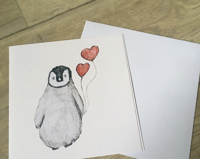 Penguin, penguin valentine card, for penguin lovers, for valentines, baby penguin,valentined card