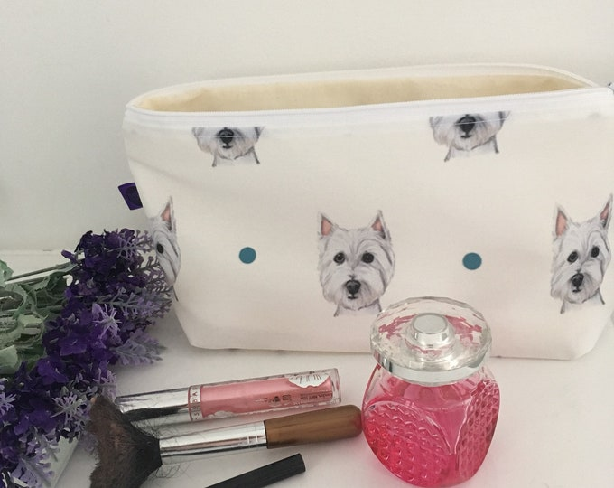 Westie, west highland terrier, makeup bag, cosmetics bag, for westie lovers, for dog lovers, westie gift