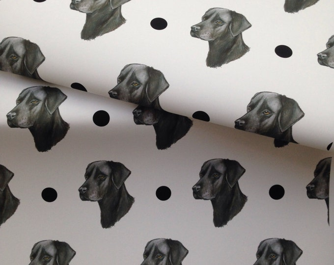 Black labrador, black lab, wrapping paper, gift wrap, for labrador lovers, for dog lovers, read description