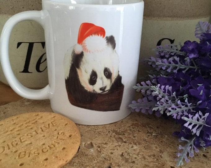 Santa panda mug, mug and coaster set, Christmas mug, for panda lovers, panda gift
