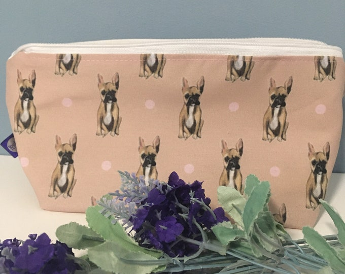 Frenchie, French bulldog, makeup bag, cosmetics bag, for French bulldog lovers, French bulldog gift