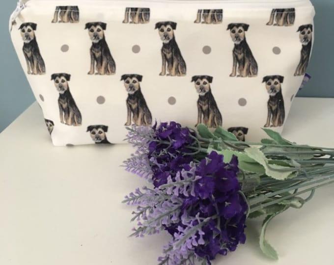 Border terrier makeup bag, cosmetics bag, for border terrier lovers, border terrier gift