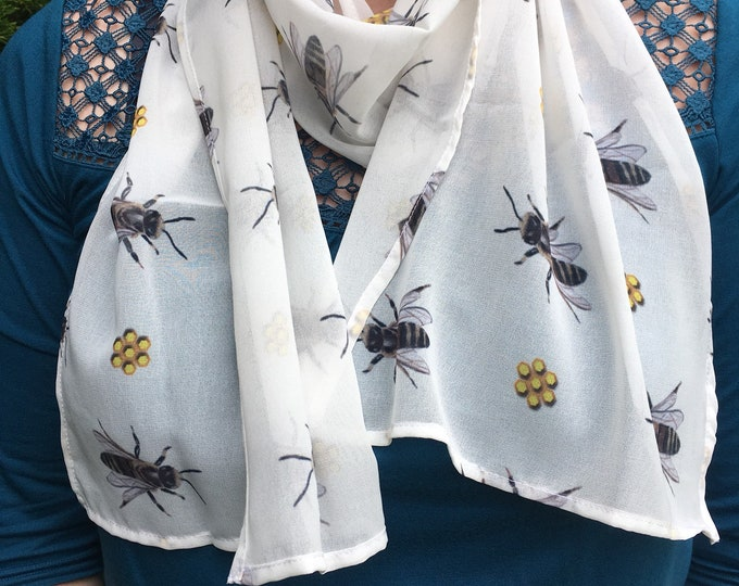 Bee, honeybee, scarf, chiffon, for bee lovers, for bee keepers, honeybees