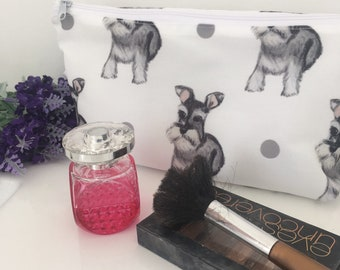 Schnauzer makeup bag, for schnauzer lovers, schnauzer gift, cosmetics bag, for dog lovers