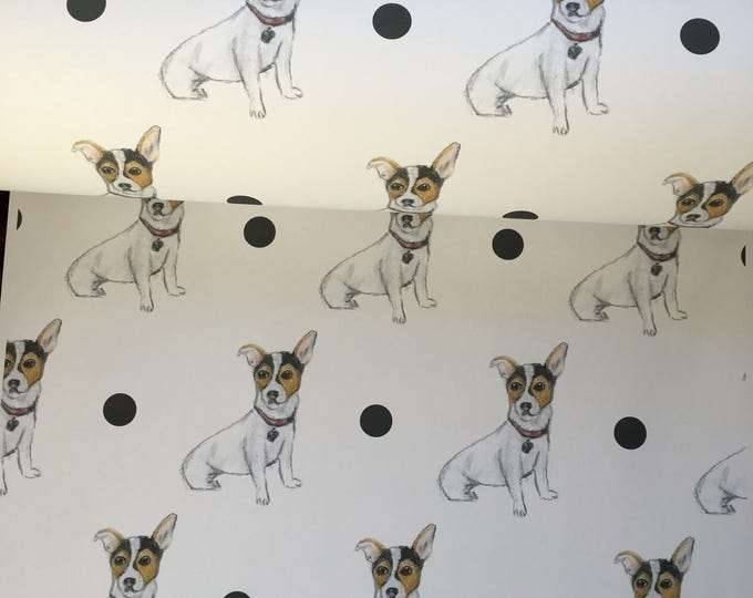 Jack Russell , wrapping paper, gift wrap, for jack russell lovers, for jack  russell owners, for dog lovers, read description