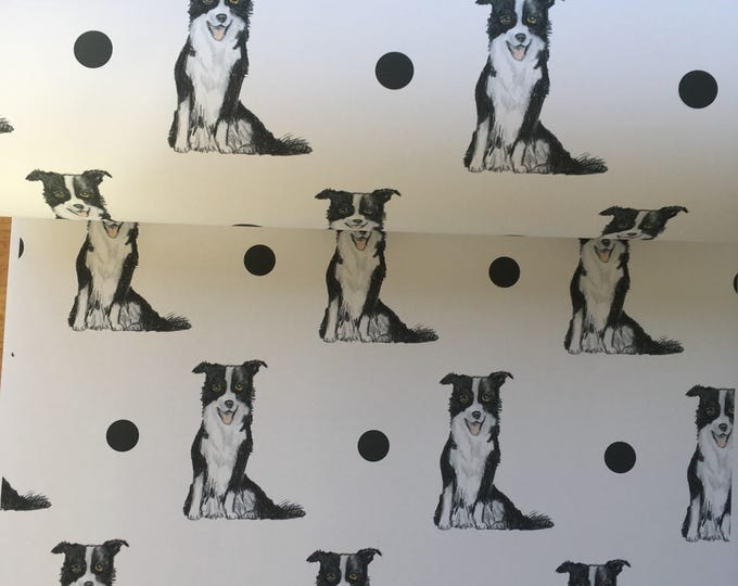 Border collie, wrapping paper, gift wrap, for border collie lovers, for dog lovers, for dog owners, read description