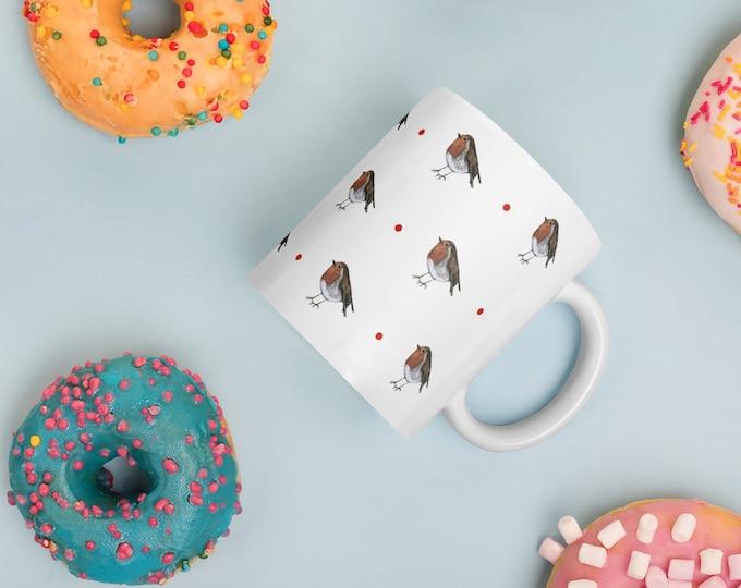 Robin, robins, mug, tea mug, coffee mug, for robin lovers, for tea drinkers, robin gift, robin mug, mug and coaster set