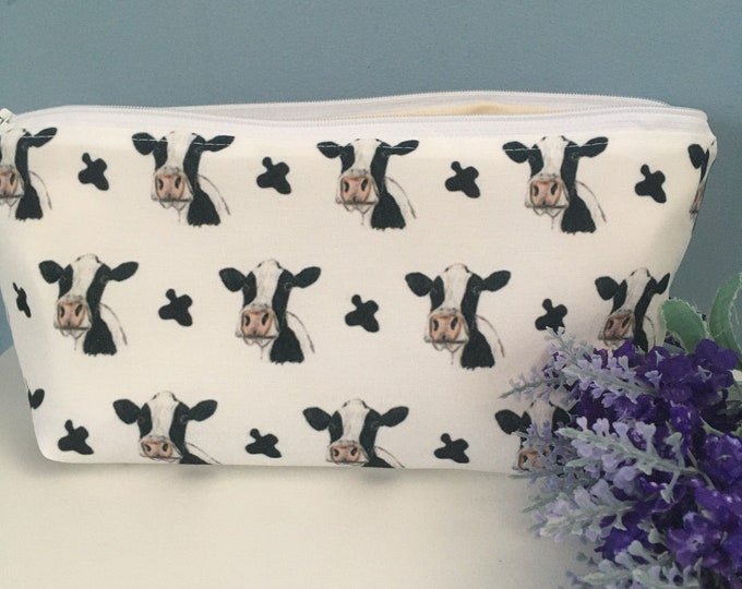 Cow, black and white cow, dairy cow, makeup bag, cosmetics bag, for cow lovers, cow gift