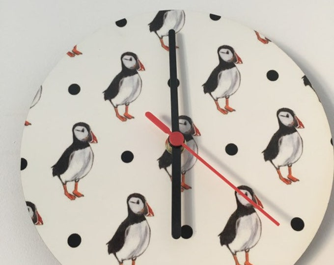 Puffin clock, wall clock, for puffin lovers, puffin wall decor, puffin gift, for bird lovers