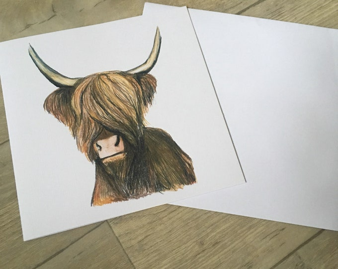 Highland cow, greetings card birthday card,blank card,for cow lovers, for highland cow lovers
