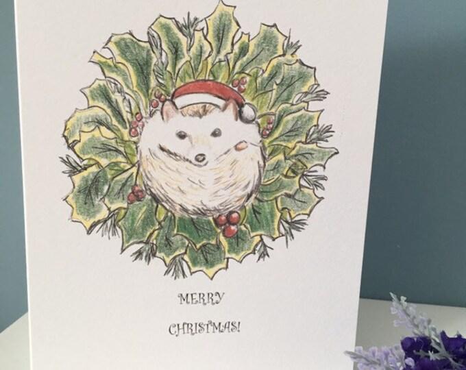 Hedgehog card, Christmas card , for hedgehog lovers, hedgehog gift