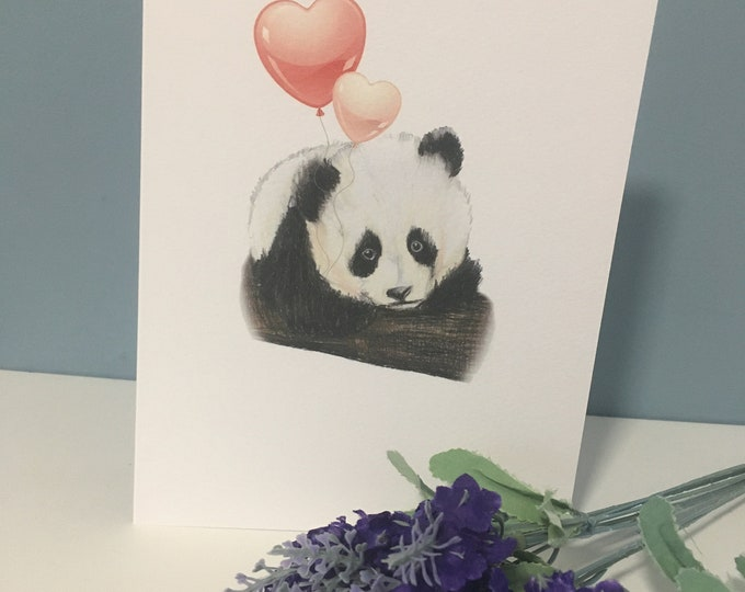 Panda, panda valentine card, for panda lovers, panda gift, for Valentine's Day