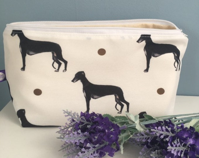 Greyhound makeup bag , cosmetics bag , for greyhound lovers, greyhound gift