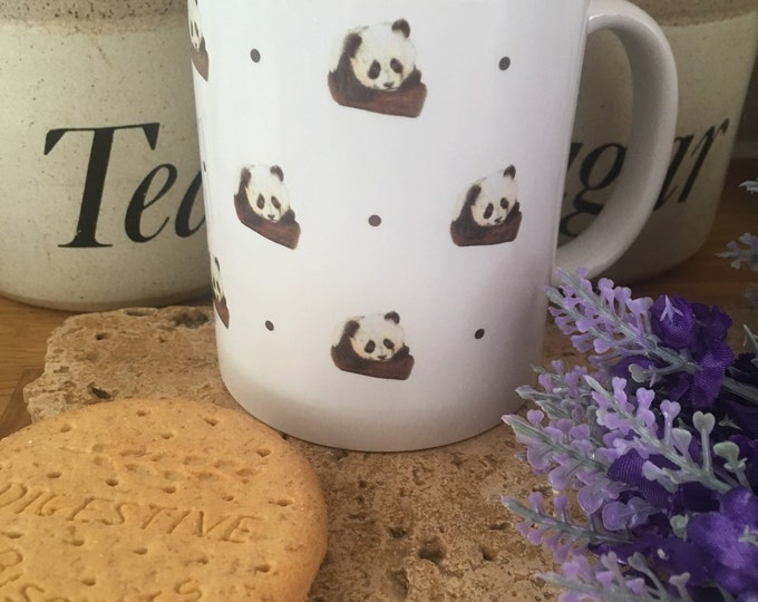 Panda, pandas , mug, tea mug, for panda lovers, panda gift, panda mug, mug and coaster set