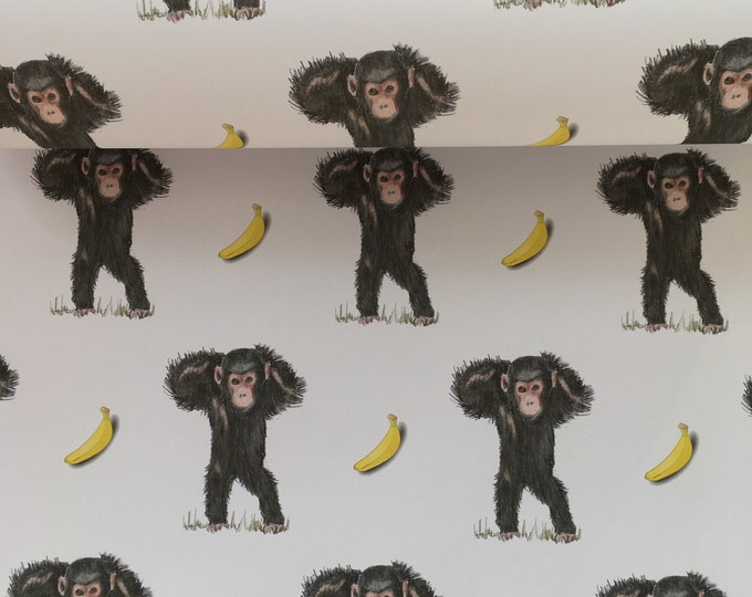 Monkey , wrapping paper, gift wrap, chimpanzees , for monkey lovers, monkeys, read description FOR SMALLER GIFTS