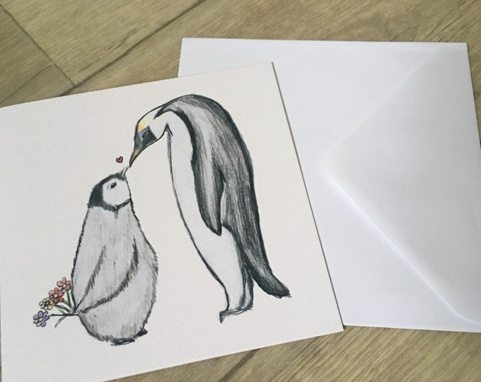 Penguin, baby penguin, Mother's Day, card, greetings card, for penguin lovers, penguin gift