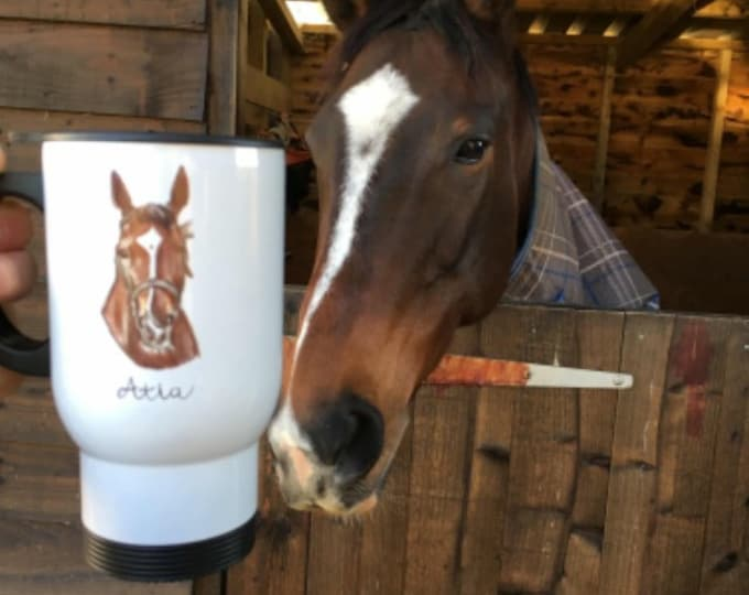 Pet portrait travel mug, mug, for pet owners, for cat lovers, for dog lovers, cat gift,dog gift
