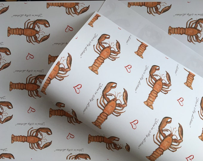 You're my lobster , wrapping paper , gift wrap, for Valentine's Day, for him, for her, read description, valentines wrapping paper
