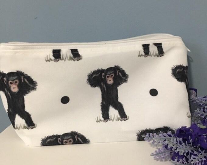 Monkey, chimpanzee, makeup bag, cosmetics bag, for monkey lovers, monkey gift