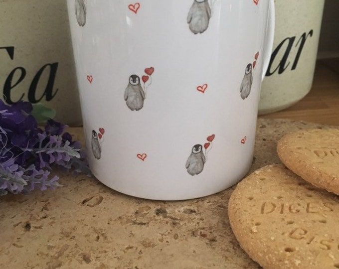 Penguin valentines mug, baby penguin mug, for penguin lovers, penguin gift, for Valentine's Day, valentines gift