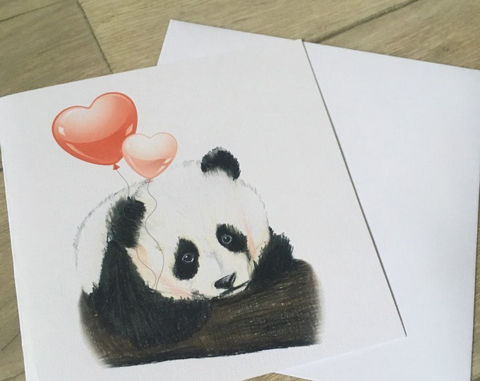 Panda, panda valentine , valentines card, greetings card, for panda lovers