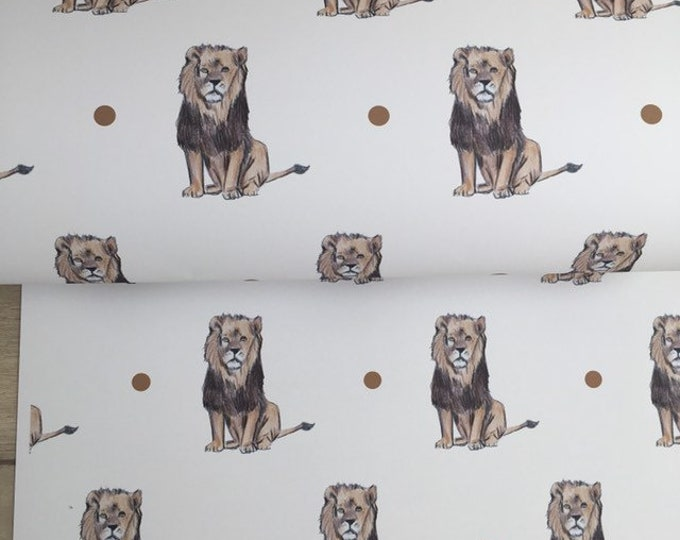 Lion wrapping paper, gift wrap, for lion lovers, lion gift, read description
