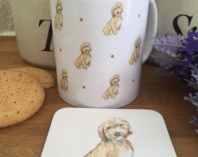 Cockapoo mug, mug and coaster set, for cockapoo lovers, for dog lovers, cockapoo gift