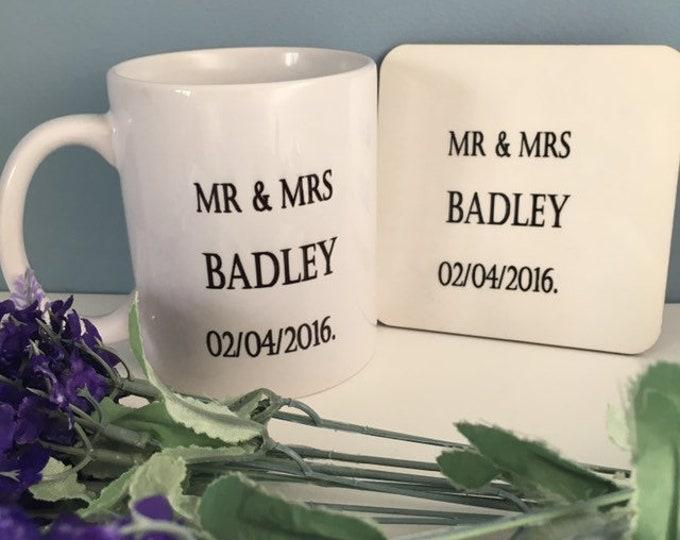 Mr and mrs mug, wedding mug, wedding gift, personalised , for the bride, for the groom, wedding coaster