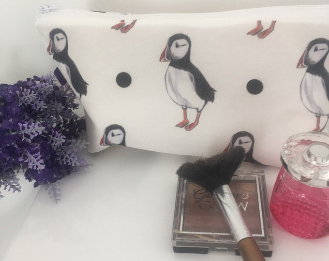 Puffin, puffins, makeup bag, cosmetics bag, for puffin lovers, for bird lovers, for makeup lovers, puffin gift