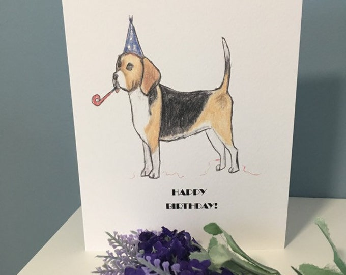 Beagle card, beagle birthday card, happy birthday, for beagle lovers, beagle gift