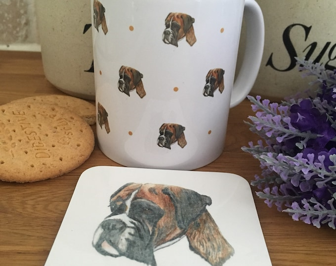 Boxer dog mug, mug and coaster set, for boxer dog lovers, boxer dog gift