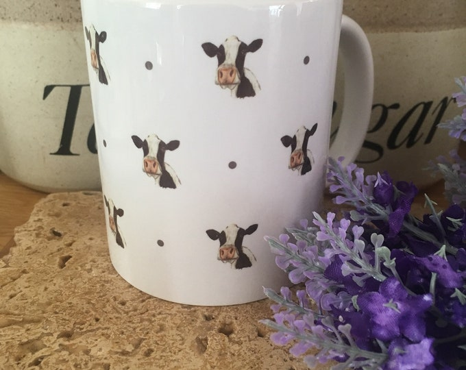 Cow, dairy cow, black and white cow, mug, tea mug, for cow lovers, cow gift, cow mug, mug and coaster set