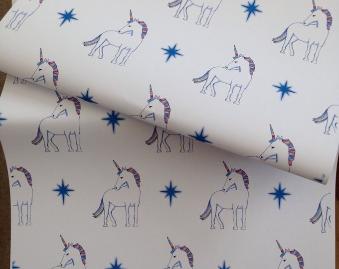 Unicorn wrapping paper, gift wrap, for unicorn lovers, unicorns, read description