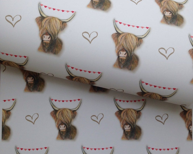 Highland cow,wrapping paper ,gift wrap , for highland cow lovers , Valentine's Day, read description FOR SMALLER GIFTS